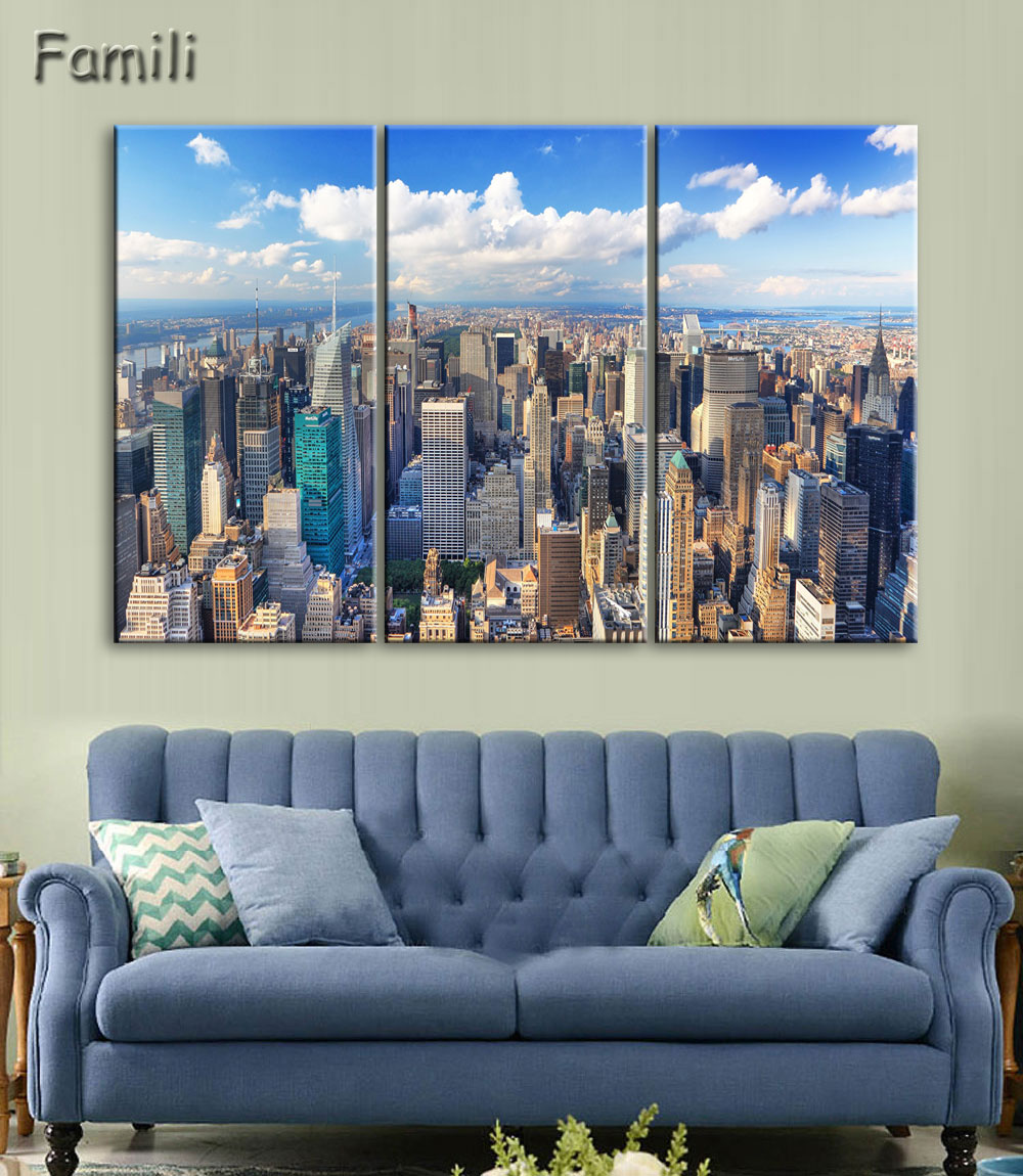 New York City Picture Canvas Painting Modern Wall Art: 3 Panel Canvas Painting New York City HD Print Painting