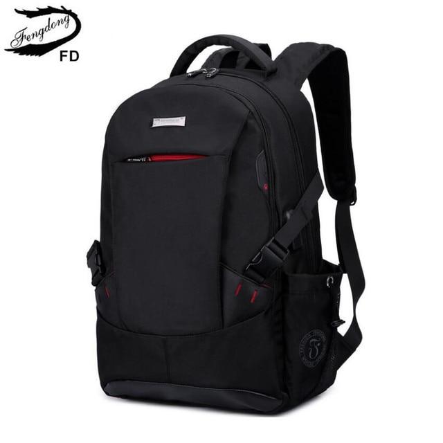FengDong school bags for boys black waterproof laptop backpack for men luggage travel bags anti theft backpack usb bag schoolbag 1