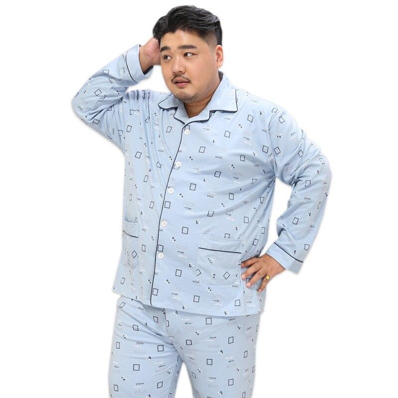 Plus Size 5XL 100 cotton pajama sets men Simple plaid Sleepwear mens pyjamas homme casual homewear