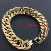 Wysoka Jakość Idealna Złocone Kuba Link Chain Bracelet Bransoletka 316L Ze Stali Nierdzewnej Dla Pewni Charm Boy męska Nadgarstka biżuteria
