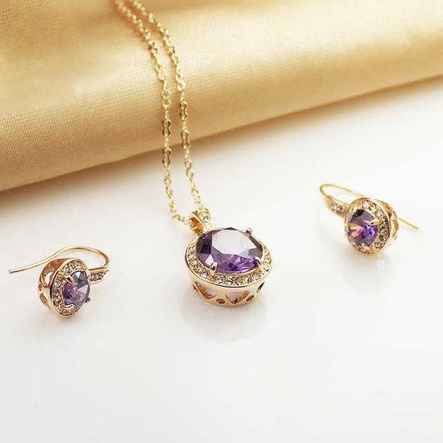 Frete Grátis Italina Rigant Moda jóias Rosa Banhado A Ouro de Cristal Austríaco Set Jóias Colar e Brinco para as mulheres Presente