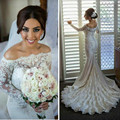 Glamorous 2016 Wedding Dresses Word shoulder Long Sleeves Buttons Back Mermaid Elegant Custom Made Bridal Gowns