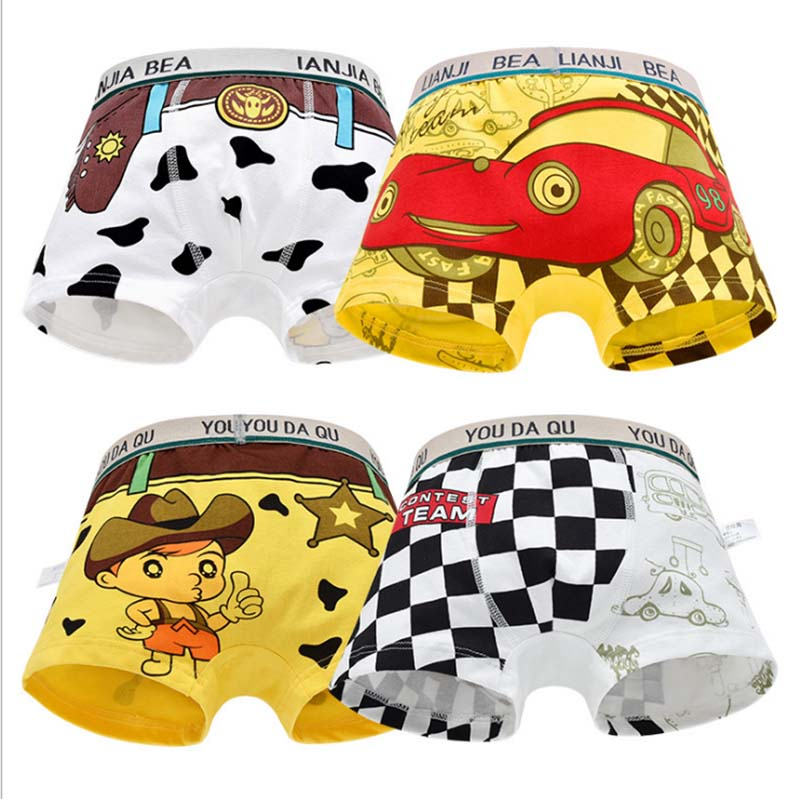 4Pcs/lot Cartoon Boys Underwear Soft Breathable Kids short for  Baby Panties Kawaii Boy Briefs Underpants