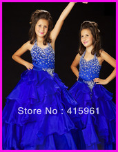 Royal Blue Halter Beaded Tiered Organza Ball Gown Pageant Dresses Flower Girl Dress F065