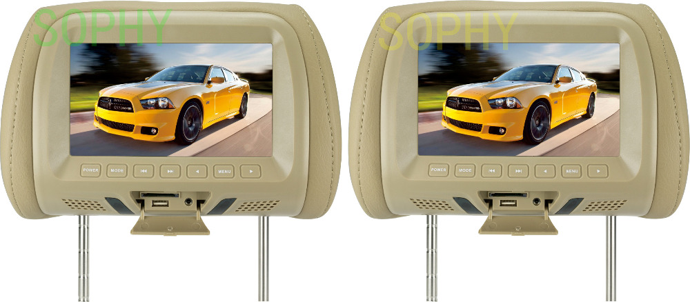 7 inch monitor 7 inch car Headrest TFT-LED monitor Headrest LED  color monitor AV USB SD MP5 FM speaker 7 inch MP5 monitor car headrest 2 pieces monitor cd dvd player autoradio black 9 inch digital screen zipper car monitor usb sd fm tv game ir remote