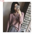 Split Sleeve Cross-over Collar Stylish Women Knitwear Sweaters Long Flare Sleeve Jumper Bottoming Knitshirt Pullovers