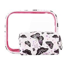 купить LVTREE PU Travel Cosmetic Bag Flamingo Butterfly Makeup Case Women Zipper Make Up Bag Handbag Organizer Storage Pouch Wash Bags по цене 1319.26 рублей