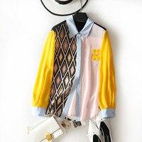Multi color patchwork blouse women silk printed plus size shirt casual blouses women tops vintage elegant clothes office ladies