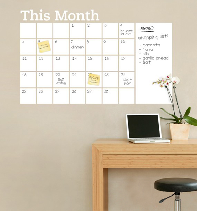Diy Calendar Background : New vinyl diy monthly chalkboard dry erase wall