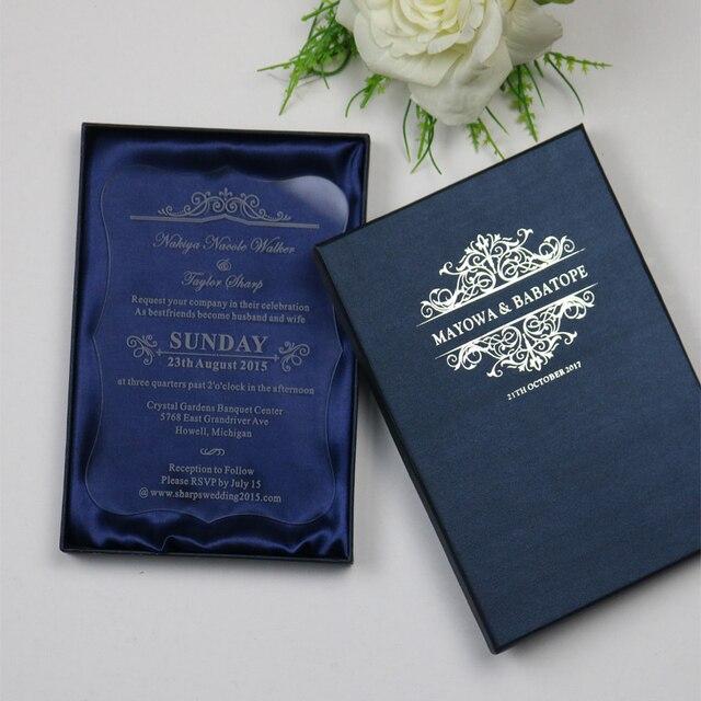 Probe Personalisierte Luxus Maßgeschneiderte Acryl Hochzeit Einladungskarten  Für Freies Laser Gravur/Party Einladungen Und