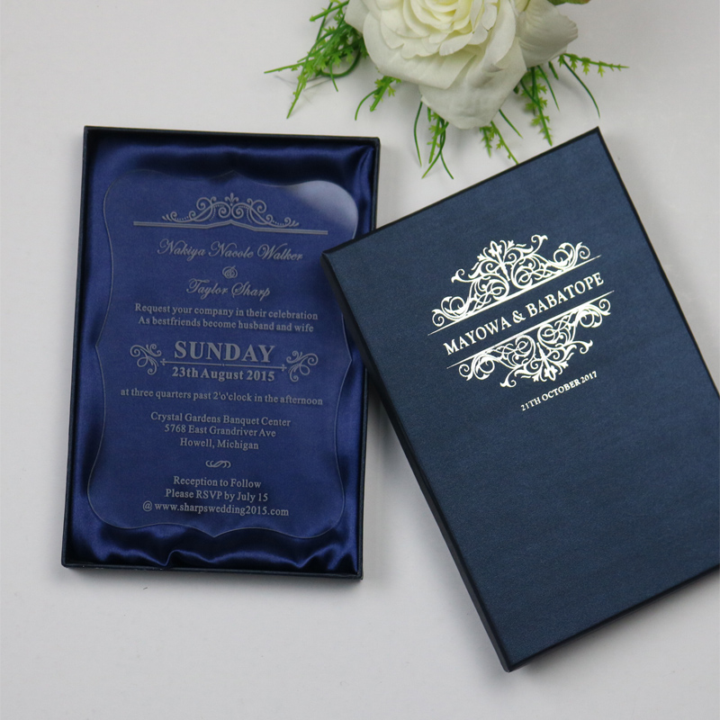 Us 19 8 Sample Personalized Luxury Customized Acrylic Wedding Invitation Cards For Free Laser Engraved Party Invitations And Blue Boxes In Cards