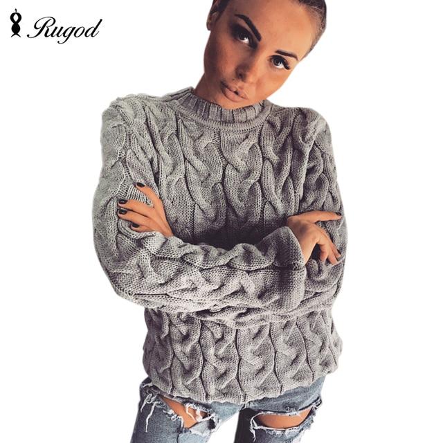 RUGOD 2018 primavera suéter de punto trenzado para mujer moda Multi colores  cuello redondo de manga 73b55c082b83
