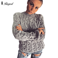 RUGOD Women 2017 Spring Twisted Knitted Sweaters And Pullovers Autumn Winter Loose Knitwear O Neck Long