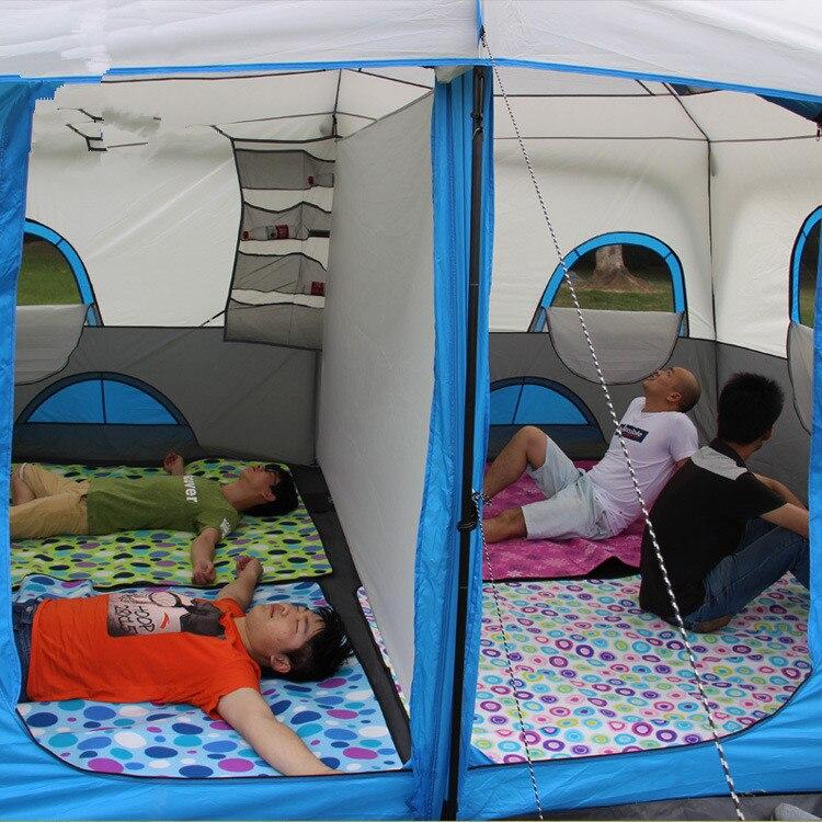 425*305*203 cm grandes tentes de Camping 10-12 personnes deux chambres escalade tentes extérieures imperméable Double couche tente automatique