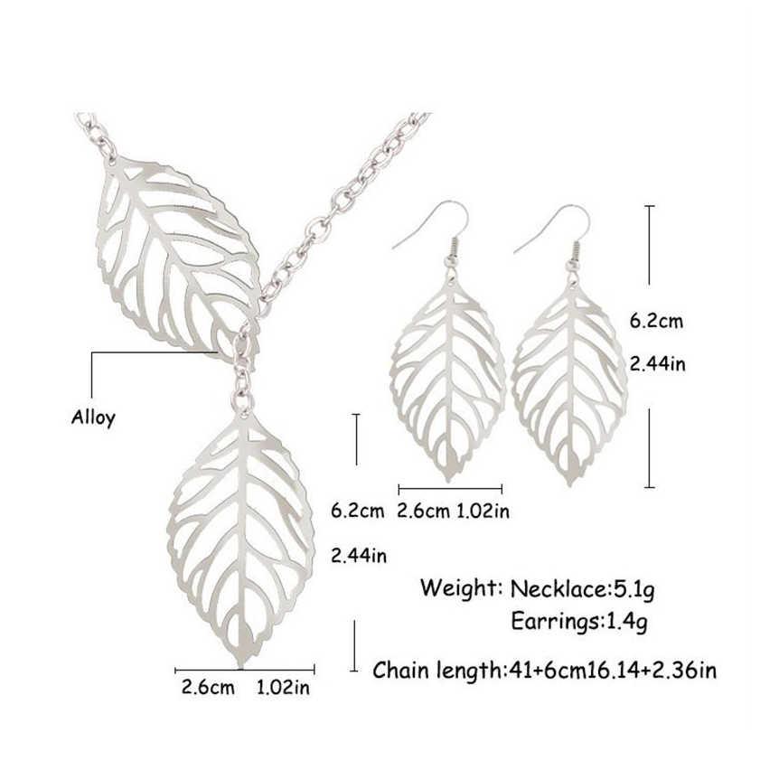Nouveaux ensembles de bijoux de perles africaines ensemble de mode soulevant les feuilles creux boucles d'oreilles pendantes collier ensembles de bijoux beau cadeau
