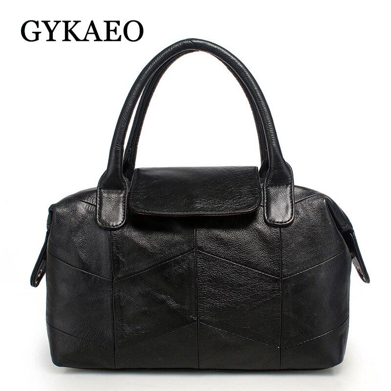GYKAEO European and American Style Fashion Soft Genuine Leather Women Handbag Ladies Street Shopping Messenger Bag