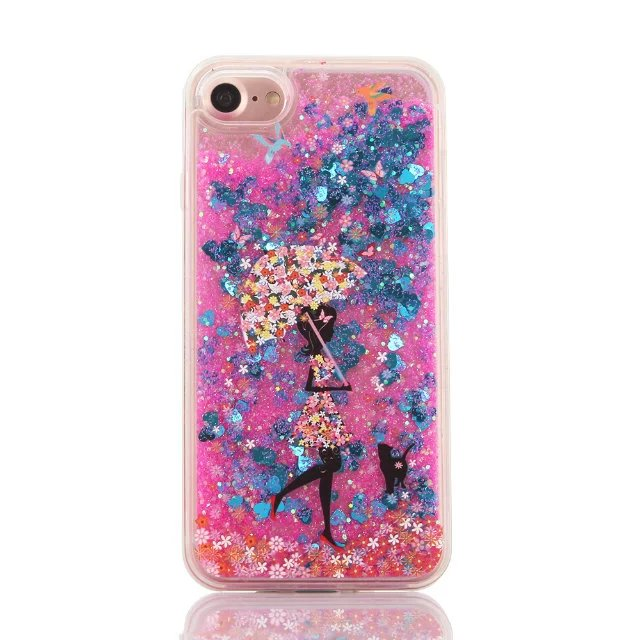 best loved 7f07c 6cb82 US $4.99 |Cartoon Pretty Girl Glitter Star Flowing Water Liquid Case For  iphone 6 cases Beautiful Girl Quicksand Cover For iphone 7 case-in Fitted  ...