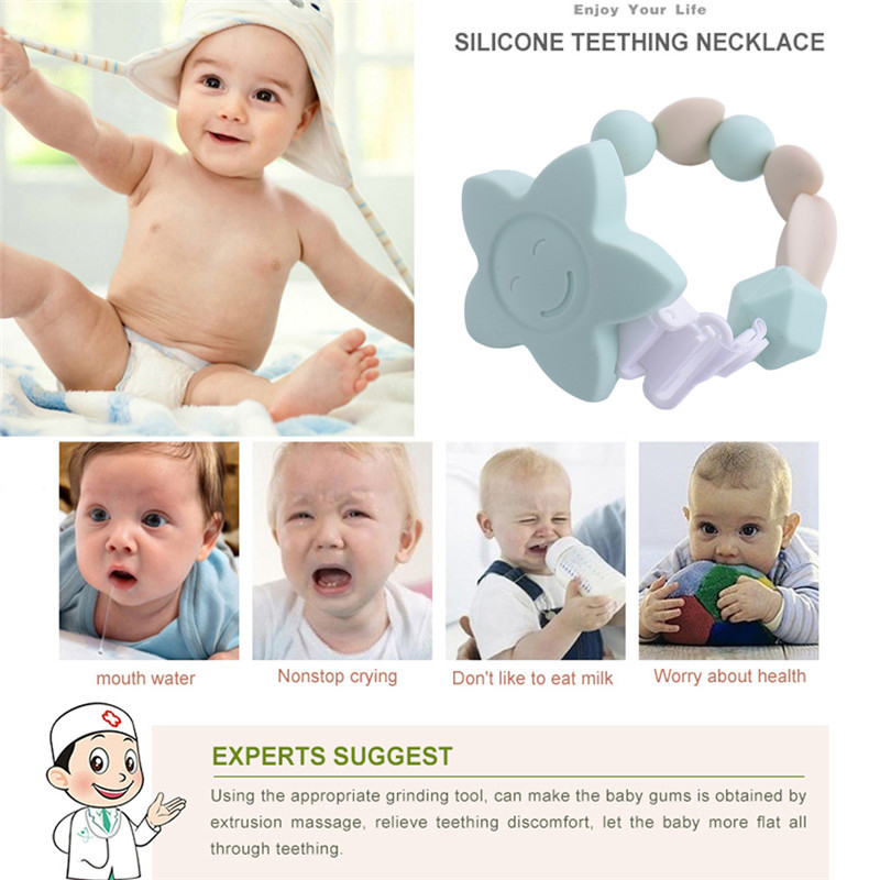 High Quality Silicone Baby Teething Beads Soother Chain with Clips for Boys Girls Flower Chewable Toddler Infant Teething Toys