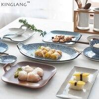 Estilo japonés sushi Tempura cuadrado plato de pescado plato de cerámica rectangular plato de sushi japonés