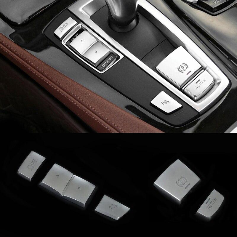 Chrome silver car styling center handbrake auto H button left side decorative cover trim sticker for BMW 5 6 7 Series F10 F07 GT