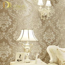 Papel tapiz de vinilo Damasco 3D metálico moderno de lujo papel de pared dormitorio sala de estar rollo Beige,CreamRed, marrón(China)