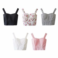 2016 Summer New Fashion Outwear Crop Plaid Tank Tops Women Preppy Style All Match Tube Vest