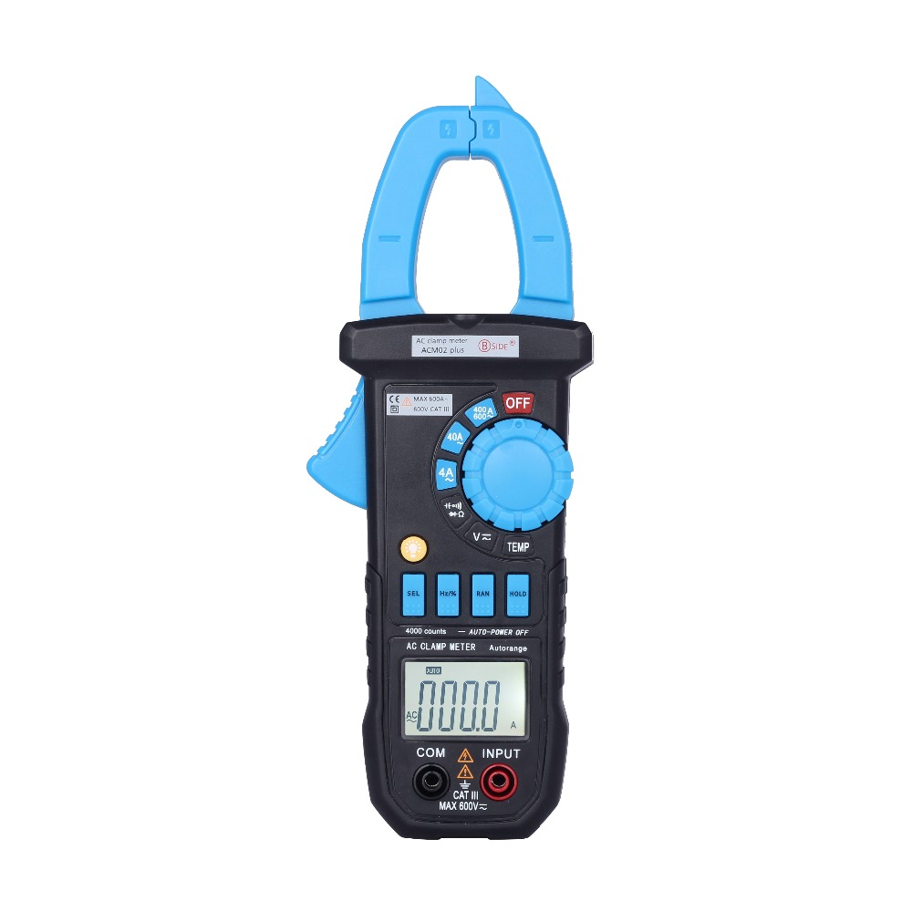 Bside ACM02 Plus 600A AC Current Digital Clamp Meter with AC/DC Voltage Resistance Capacitance Frequency Temperature measurement bside auto range digital clamp meter 6000 counts dc ac 600a 600v resistance capacitance frequency temperature ncv multimeter