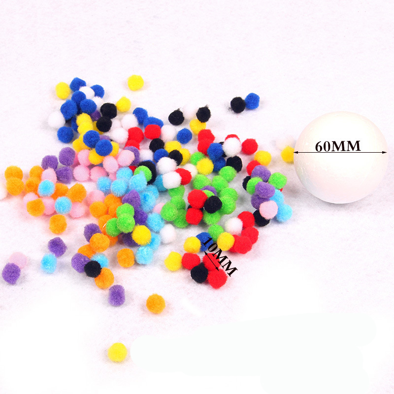 40//100//200 Pcs Mixed Color Pompom Fluffy Plush Kids DIY Assembling Handcraft New