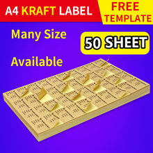 A4 Self-adhesive Kraft Label for Laser and Inkjet Printer Handwritten Die-cut Round/Square Sheet Sticker 20/50 Sheets Each Pack