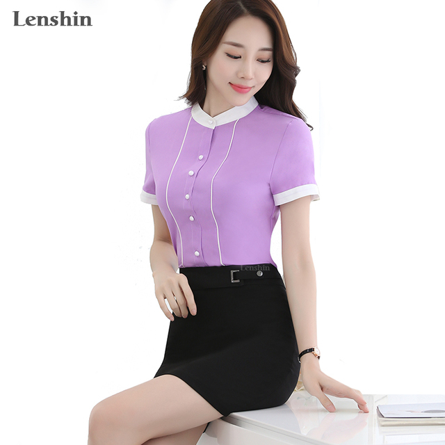 Contrast Color Short Sleeve Blouse Lavender Shirts Casual Style New