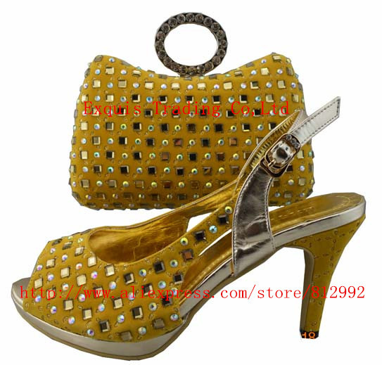 ФОТО FREE SHIPPING BY DHL.!!! 2014 new popular ladies Italian women shoes with matching bag of  NO.W332 yellow color Size 38-42