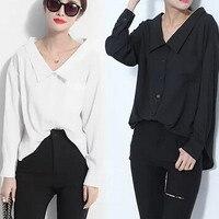 2015 New Lady S Latest Fashion Tops Shirt V Neck Long Sleeve Women OL Chiffon Loose