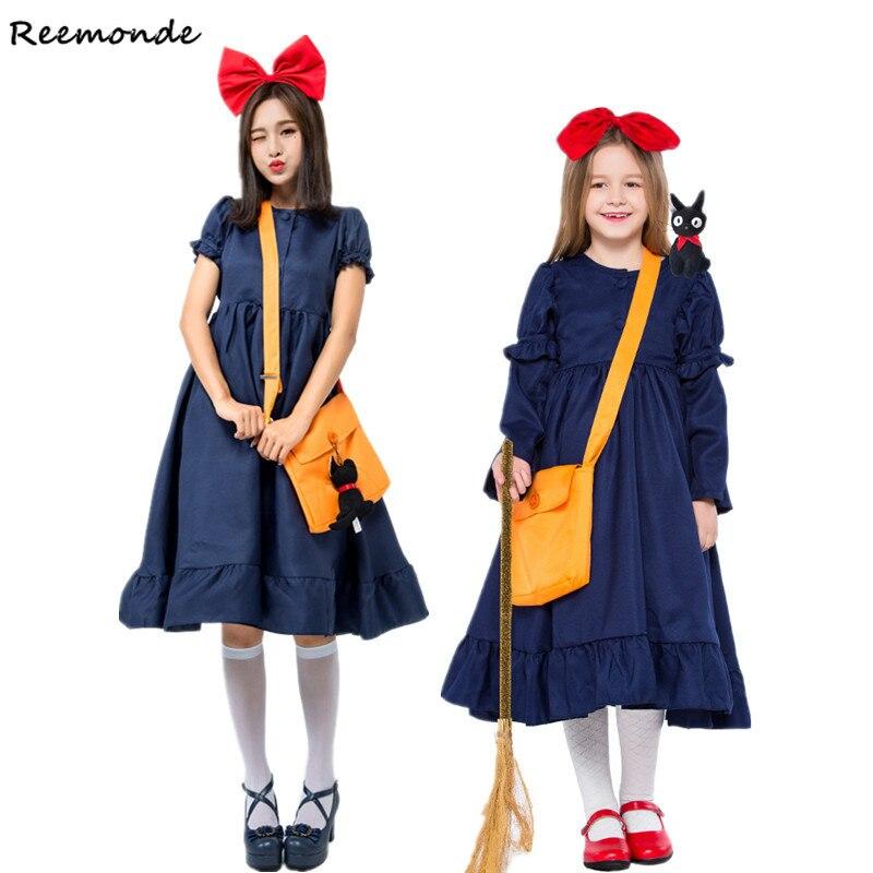 Anime Kiki s Delivery Service Cosplay Costume Kiki Dress Headgear Bag For Kids Adult Girls Halloween