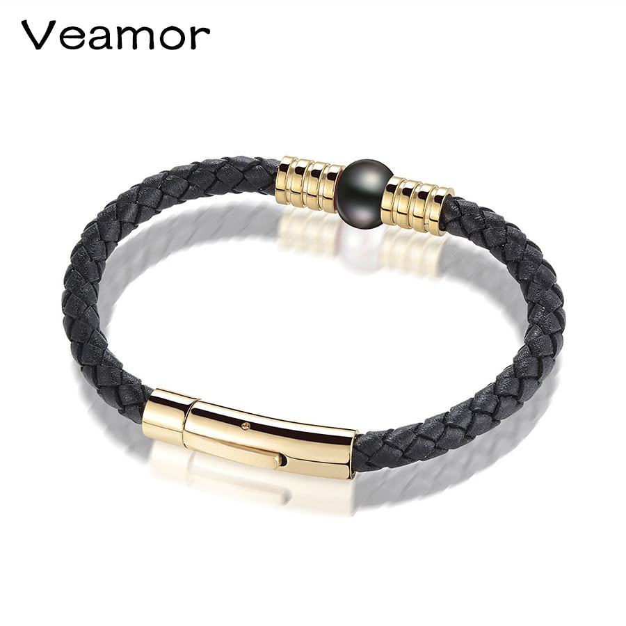 Veamor Womens Mens Bracelet Black 1 Strands Rope Handmade Leather  Friendship Wristband Pearl Charm Surfer Real