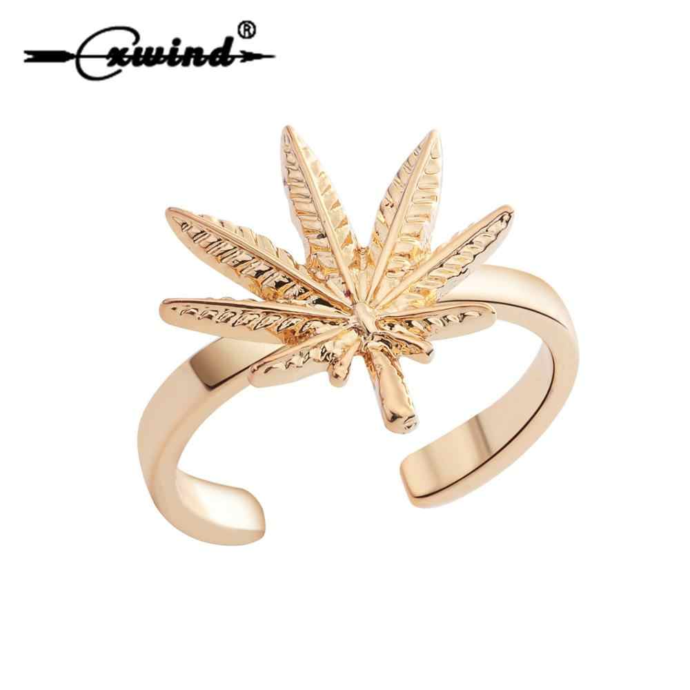 Cxwind Cute Maple Leaf Finger Rings for Men Women Simple Design Finger Wrap Rings Jewelry Adjustable Branch Leaves Ring Jewelry