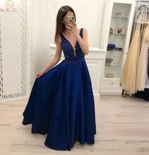 Navy Blue Deep V Neck Evening Dresses 2019 Fashionable A Line Floor Length Satin Stunning Sleeveless Satin Long Formal Gowns недорго, оригинальная цена