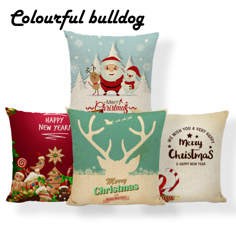 Reasonable 2018 Santa Claus Christmas Tree Cushions Deer Gifts Decorative Balls Pillowcase Coastal Decor Home Throw Pillow Case 18x18 Linen Cushion Cover