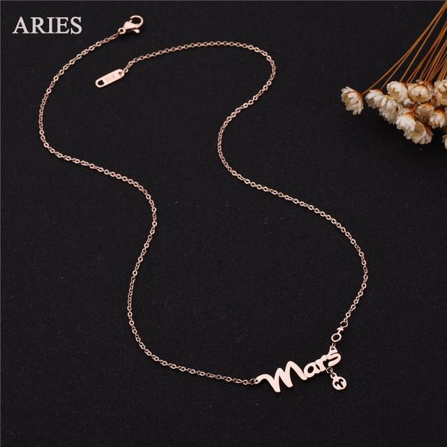 f0706b340bc5 € 5.99 |Nueva joyería de la manera del zodiaco del Aries collar de acero  inoxidable rosa de oro de color Maxi nombre Collar para las mujeres regalo  ...