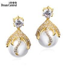 DreamCarnival1989 Deluxe Mignon Boucles D'oreilles pour les Femmes Créés Perle boucle d'oreille femme Rhodium Or Couleur De Mariage S'engager Bijoux