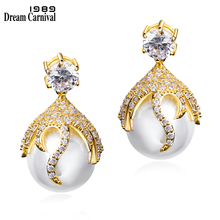 (DC1989) pearl drop earrings with Clear stone Lead Free Big Drop Fashion Earring 18K Real Gold & Platinum Plated Silver Pins