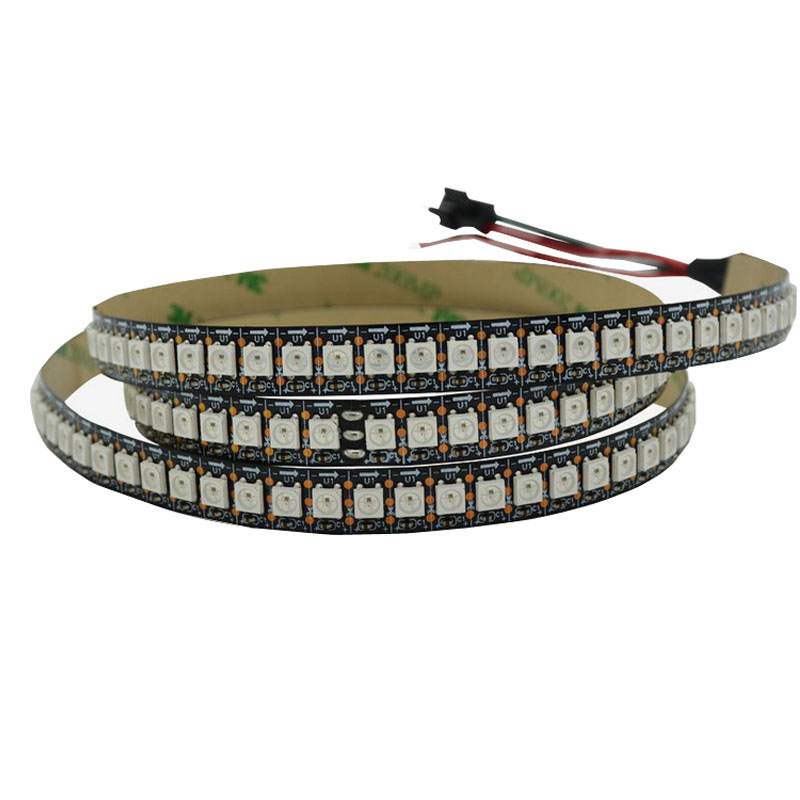 10mX WS2812B adressable 5050RGB LED bande DC5V entrée 144 LED s/m 144 Pixels/m blanc/noir PCB disponible livraison gratuite express