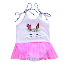 CHAMSGEND Baby Girls Sleeveless Vest Easter Day Rabbit Print Jumpsuit Romper Dress Make Your Baby More Attractive FEB14(China)