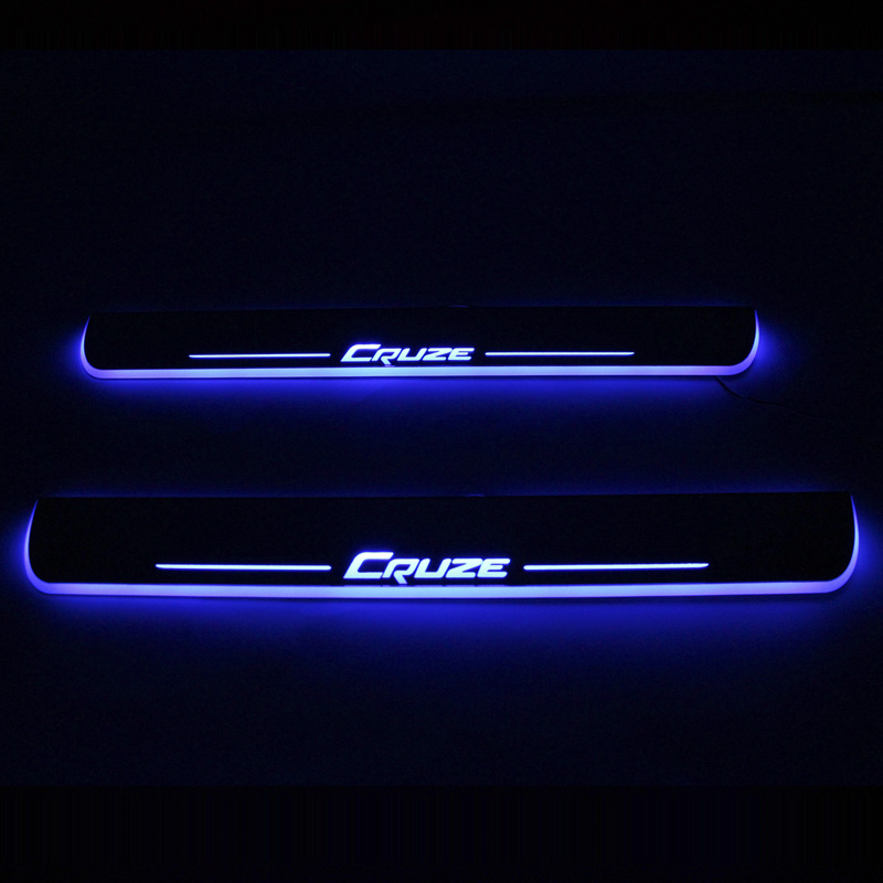 SNCN LED Car Scuff Plate Trim Pedal Door Sill Pathway Moving Welcome Light For Chevrolet Cruze