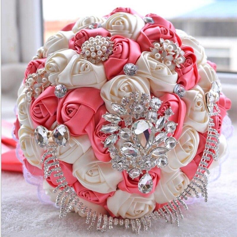 Ruban de Satin personnalisé à la main mariage mariée détient fleur cadeaux de noël en gros livraison gratuite - 5