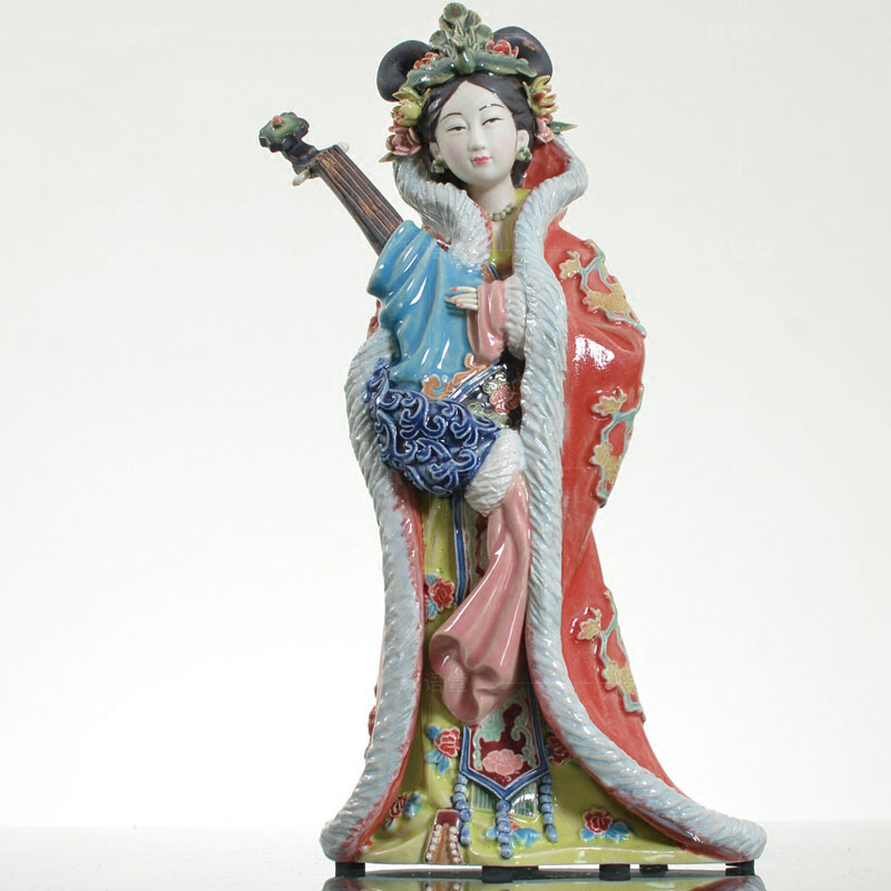 Chinese Shiwan Pottery Ceramic Lady Figurines Of Diao Chan X