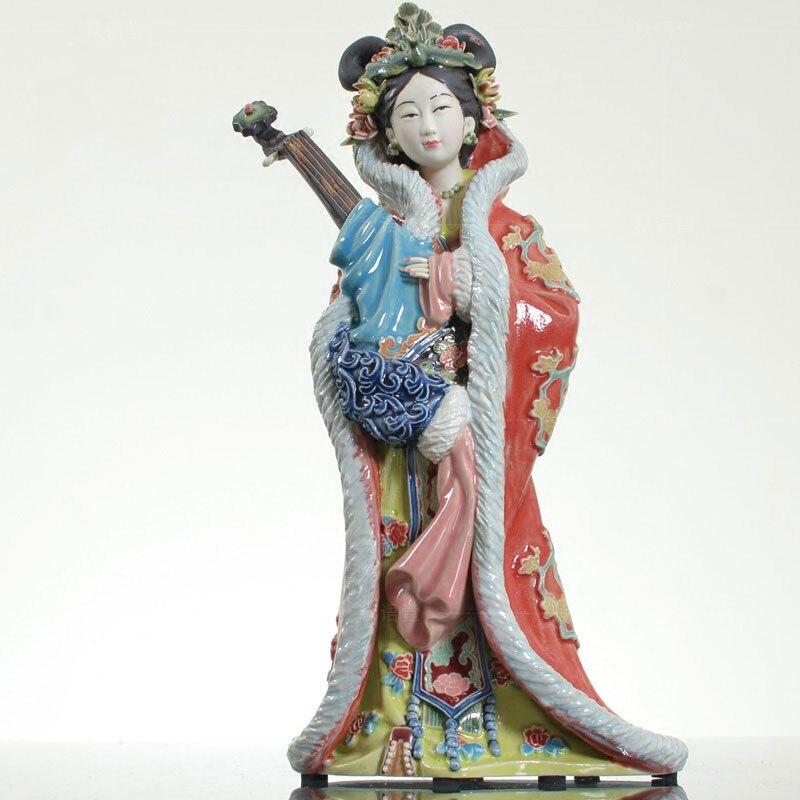 Collectible Chinese Shiwan Ceramics Lady Figurine Diao Chan Xi Shi Gui Fei Asian Beauties Antique Statues Handpainted Art Piece