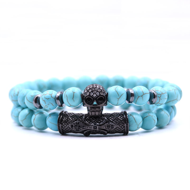 Kang hua 2Pcs Set 2019 popular 5 styles 8mm stone Pave CZ black skull Bracelets for Men Women beautiful Creative Jewelry Selling in Strand Bracelets from Jewelry Accessories