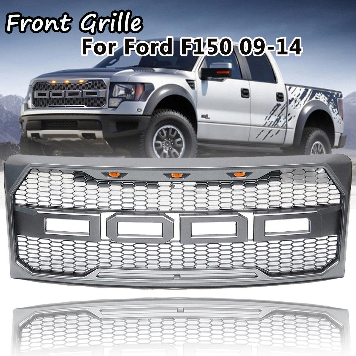 Raptor Style Car Front Grille With Emblem Housing Amber Led Light for Ford F150 F-150 2009 2010 2011 2012 2013 2014 for f150 raptor f 150 led tail light rear lights for ford 2008 2012 year smoke black sn