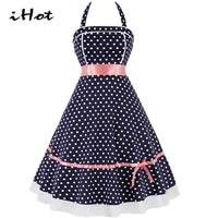 IHOT Women Summer Tea Dress 50s 60s Polka Dot Halter Lace Knee Length Elegant Retro Casual Evening Party vestido rockabilly 2017