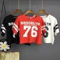 Camisas das mulheres T 76 algodão de impressão digital de solto de cintura alta t-shirt do projeto curto topos camisa feminina Lasy Sexy Moda tees